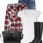 Hooded Plaid Flannel Shirt Fall Outfit