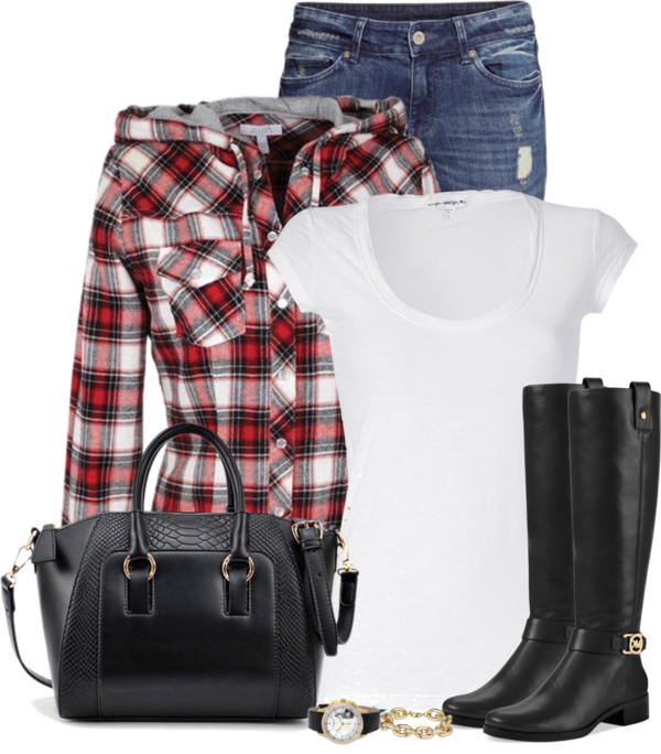 Hooded Plaid Flannel Shirt Fall Outfit outfitspedia