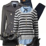 Knitted Jumper With Mock Shirt Fall Winter Outfit