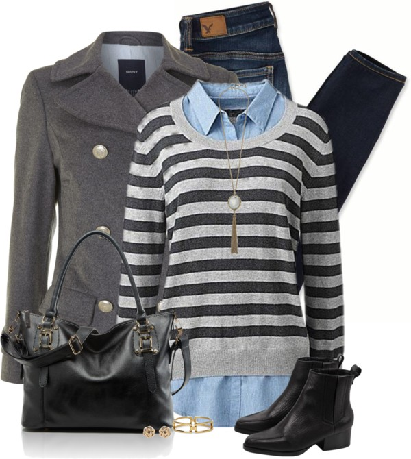 Knitted Jumper With Mock Shirt Fall Winter Outfit outfitspedia
