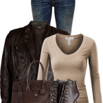 Lambskin Leather Biker Jacket Casual Fall Outfit