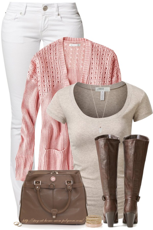 Lovely Pink and Brown Casual Spring Outfit outfitspedia