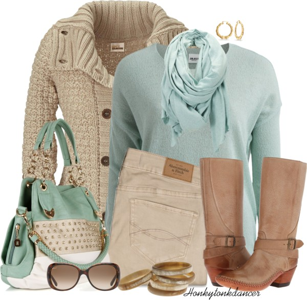Mint Knitted Pullover and Cream Cardigan Fall Outfit