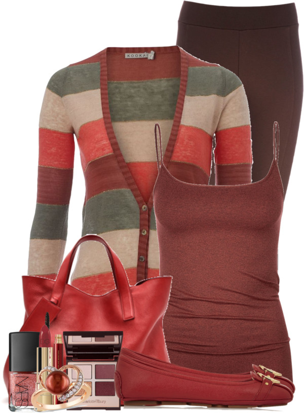 Multi-Coloured Striped Cardigan Casual Outfit outfitspedia