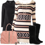 Multi-Shade Sweater Dress Cute Fall Winter Outfit