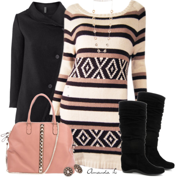 Multi-Shade Sweater Dress Cute Fall Outfit outfitspedia