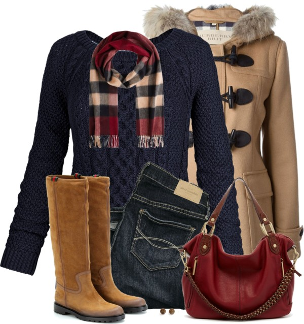 Navy Cable Knit Sweater Winter Outfit outfitspedia