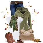 Olive Green Hoodie Sweater Fall Outfit