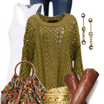 Olive Green Knit Pullover Casual Fall Outfit