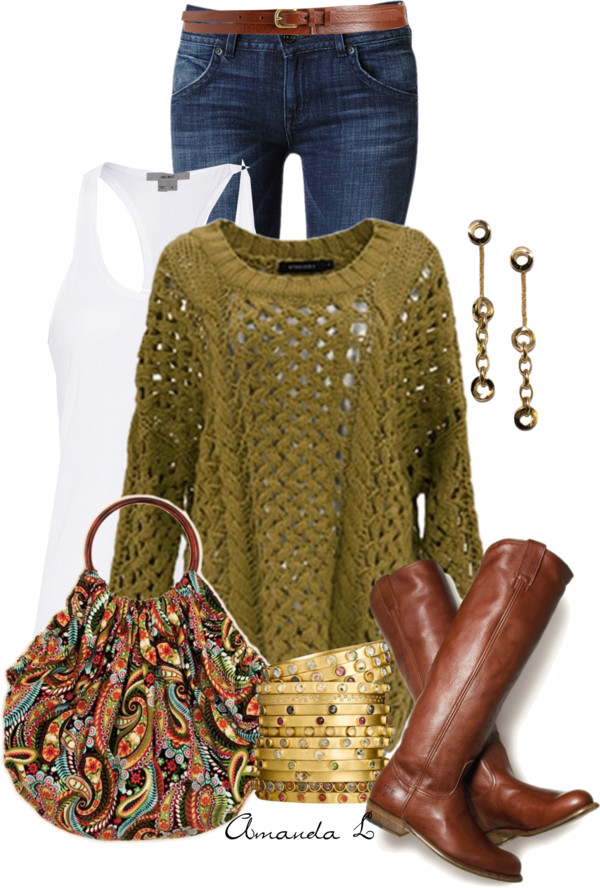 Olive Green Knit Pullover Casual Fall Outfit outfitspedia
