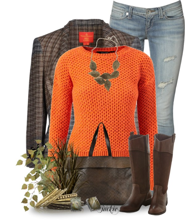 Orange Jumper Cozy Casual Fall Outfit outfitspedia