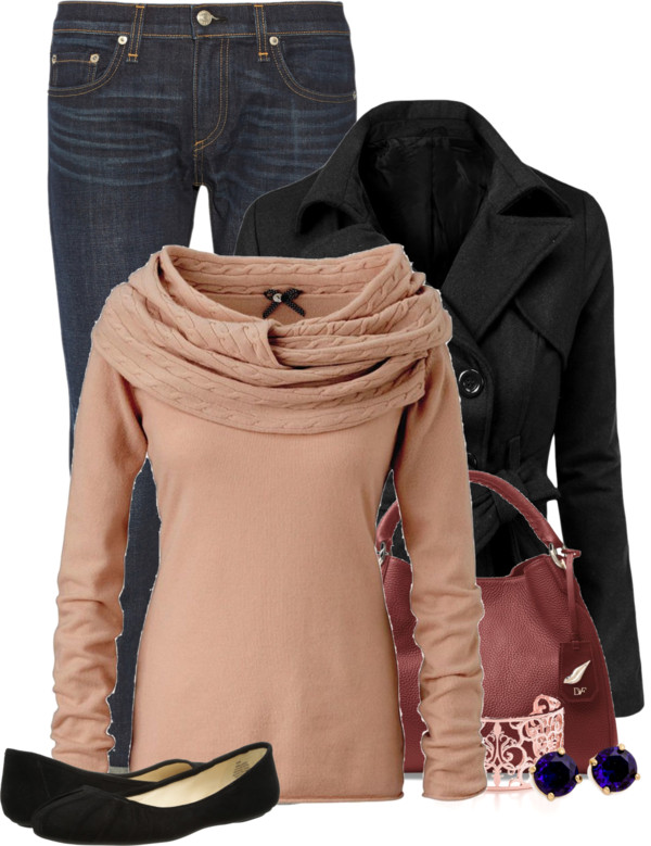Peacoat and Flat Shoes Casual Fall Outfit outfitspedia