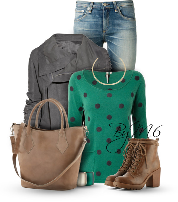 Polka Dot Jumper Casual Fall Outfit outfitspedia