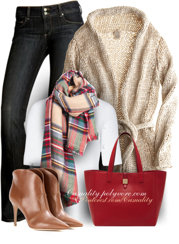 Preppy Knit Cardigan Casual Fall Outfit outfitspedia