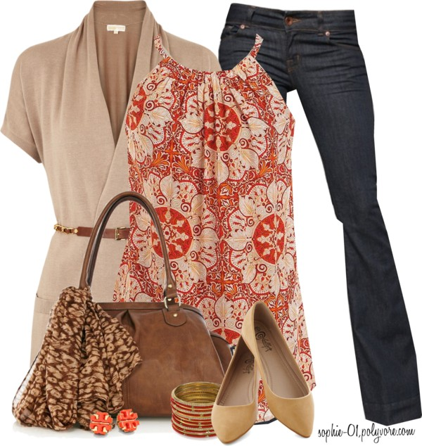 Printed Halter Top Spring Outfit outfitspedia
