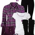 Purple Flannel Top Casual Fall Outfit