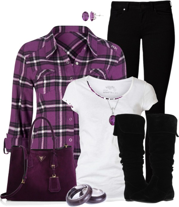 Purple Flannel Top Casual Fall Outfit outfitspedia