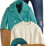 Riding Boots With Turquoise Peacoat Fall Outfit