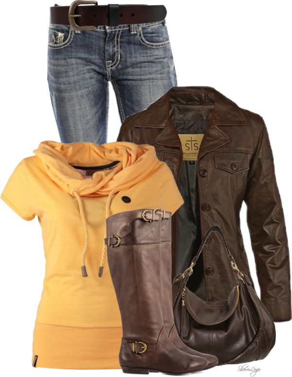 Scarf Collar T Shirt Casual Fall Outfit outfitspedia