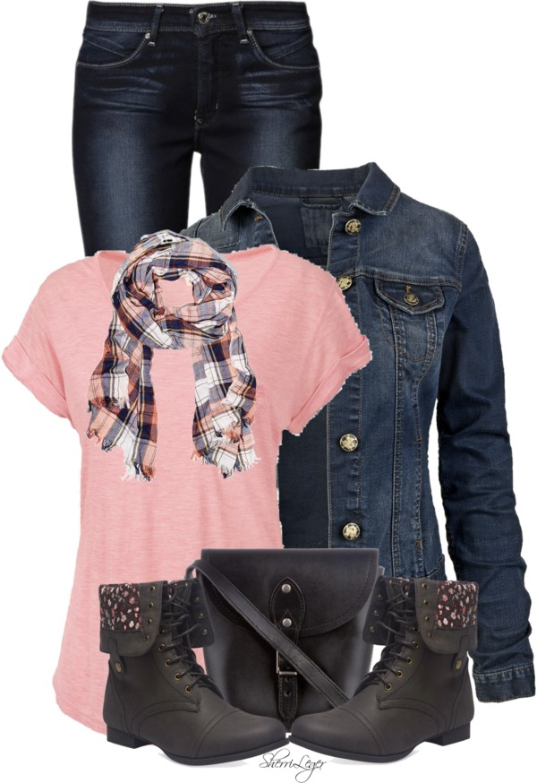 Simple T Shirt With Denim Jacket Fall Outfit outfitspedia