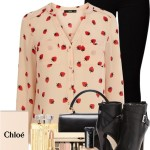 Strawberry Piped Yoke Shirt Casual Outfit