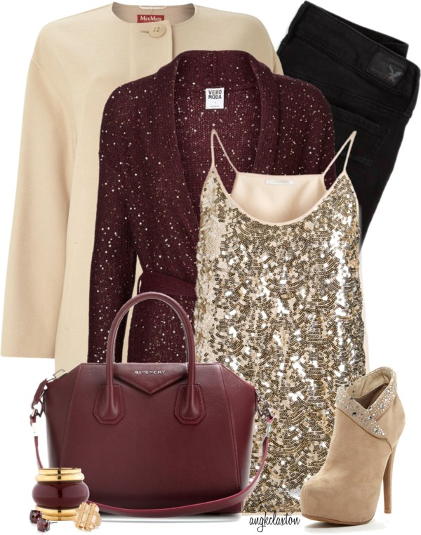 Stylish Sequin Cardigan New Years Outfit Polyvore outfitspedia