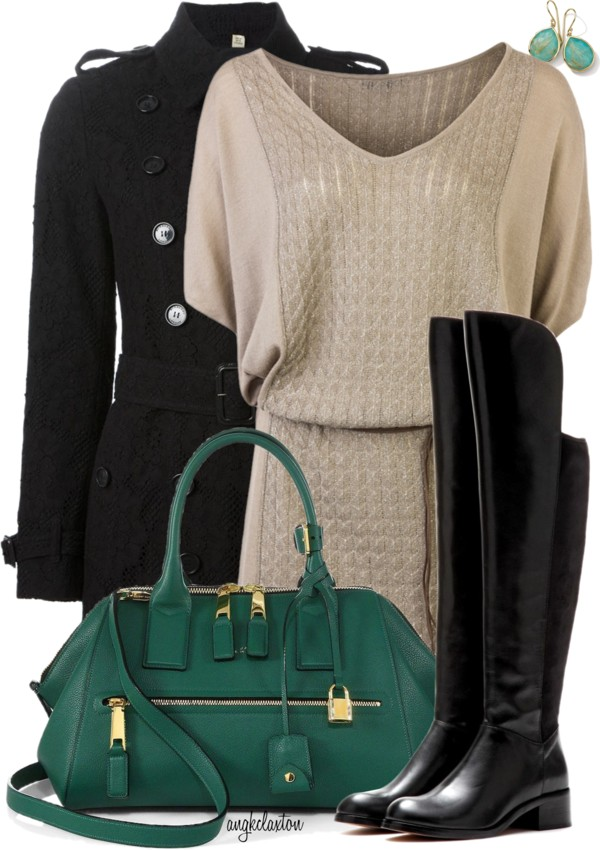 Sweater Dress and Over-the-Knee Boots Fall Winter Outfit outfitspedia