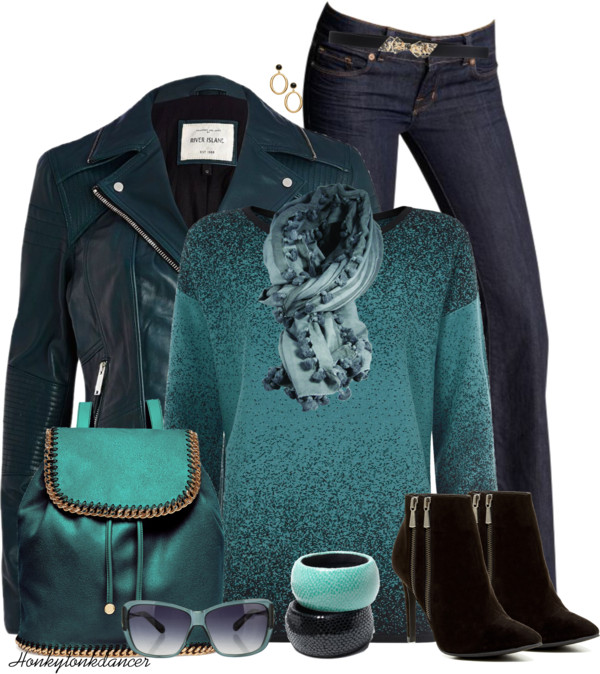 Teal Leather Jacket Classy Fall Outfit outfitspedia