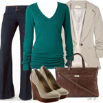 Teal Sweater Any Season Casual Outfit