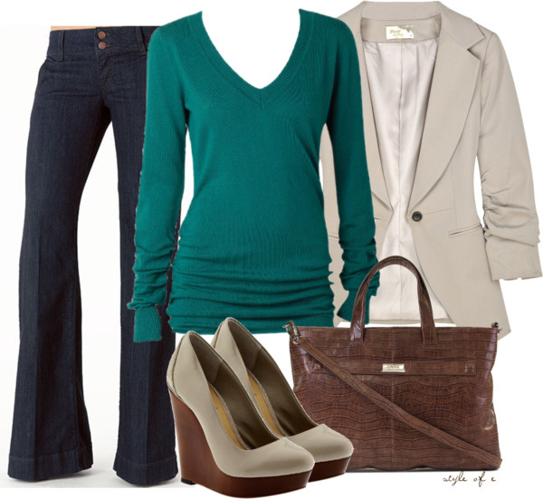 Teal Sweater Any Season Casual Outfit outfitspedia