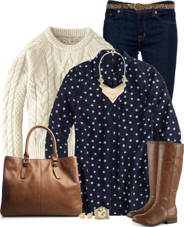 Ticktock Print Blouse Casual Fall Outfit outfitspedia