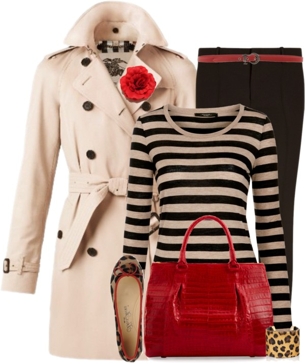 Trench Coat With Striped Shirt Fall Outfit outfitspedia