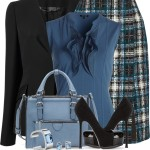 Tweed Pencil Skirt Work Outfit