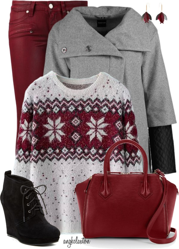 Wine Red Skinny Jeans Winter Outfit outfitspedia