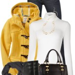 Yellow Wool-Blend Toggle Jacket Fall Outfit
