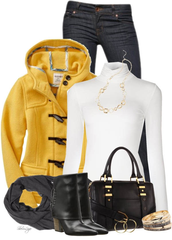Yellow Wool-Blend Toggle Jacket Fall Outfit outfitspedia
