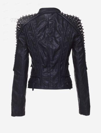 Black Rivet Stand Neck Women's Jacket 3