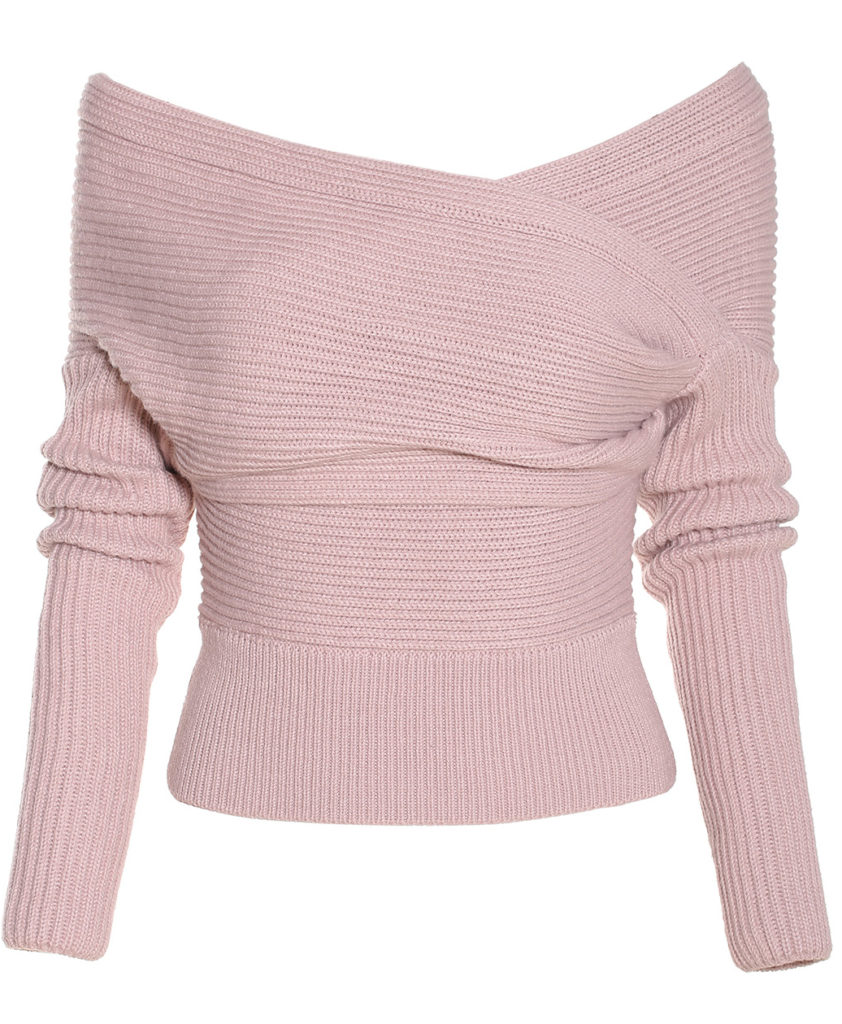 Boat Neck Wrap Front Pink Sweater 1