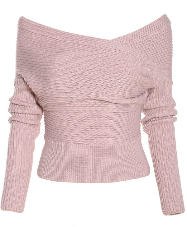 Boat Neck Wrap Front Pink Sweater | Outfits Pedia