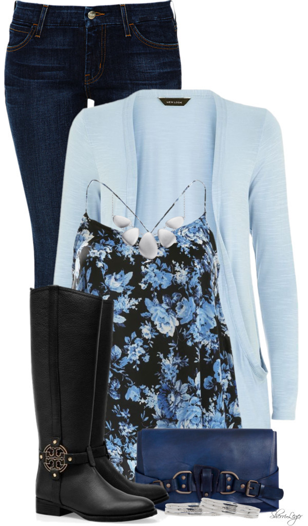 Cute Blue Floral Cami Spring Outfit outfitspedia