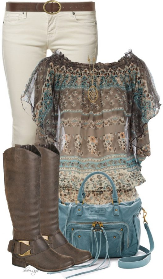 Cute Printed Gypsy Top Spring Outfit outfitspedia