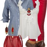 Denim Shirt, Red Colored Jeans and Booties Spring Outfit