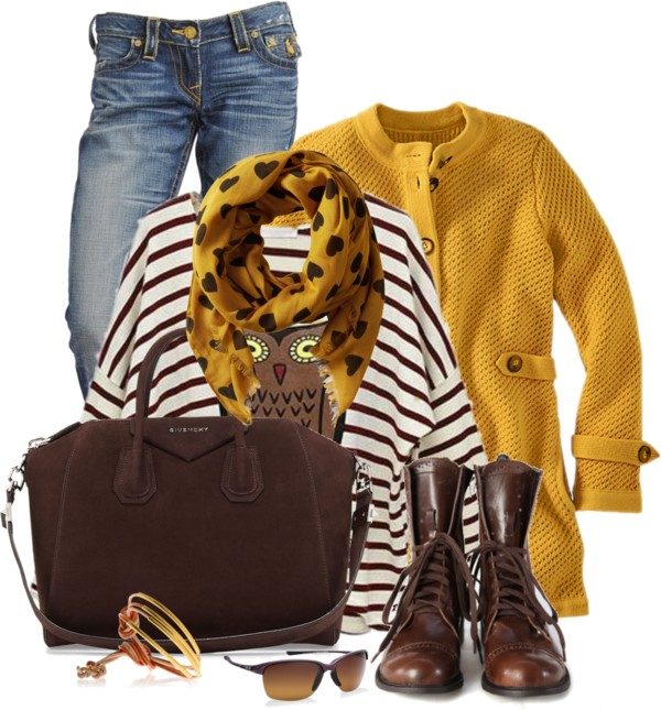Heart Mustard Scarf Spring Outfit outfitspedia