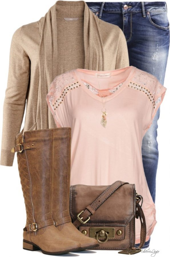 Jersey Lace T Shirt With HM Cardigan Casual Outfit outfitspedia