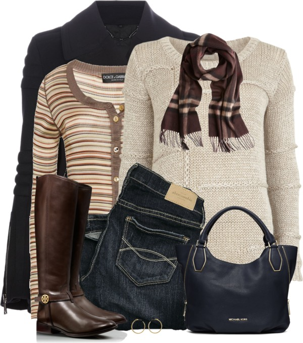 Knit Sweater With Cardigan Warm Winter Layer Outfit outfitspedia