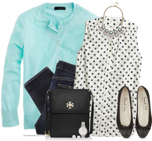 Lovely Mint and Dots Casual Spring Outfit outfitspedia