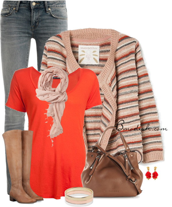 Mango Multicolor Cardigan Casual Outfit outfitspedia