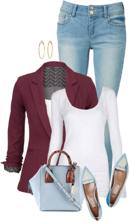Metallic Leather Flat Spring Outfit outfitspedia
