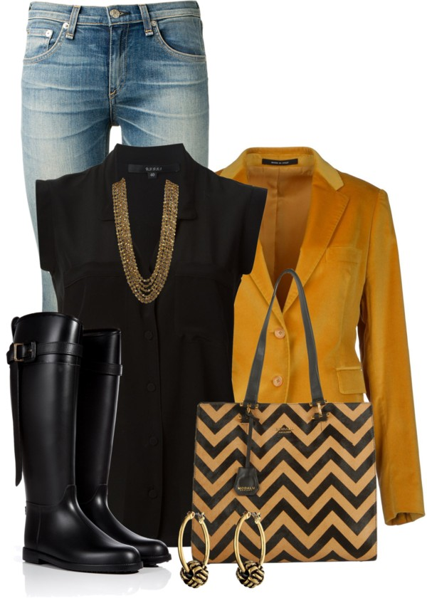 Mustard Blazer Classy Fall Outfit outfitspedia