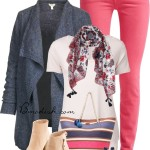 Pink Skinny Jeans With Grey Cardigan Spring Outfit